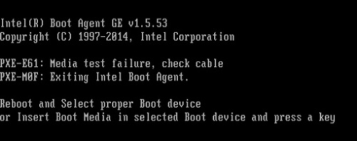 Error when Intel® NUC Starts: PXE-E61: Media Test Failure