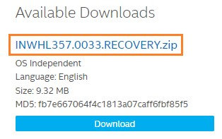 Download and save the Recovery BIOS file