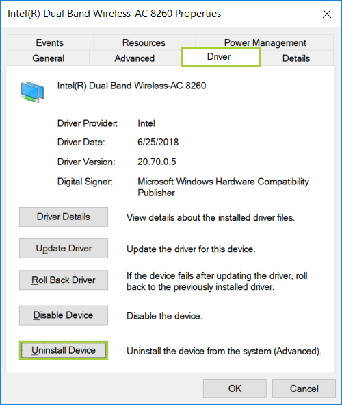 Uninstalling the Wi-Fi/Bluetooth® Driver for Your Intel® Wireless