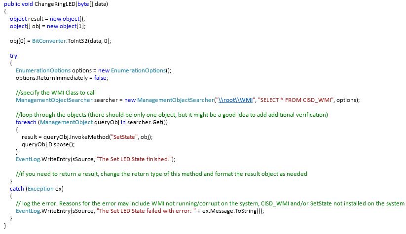 Sample code to invoke the SetState Method in the LED WMI interface