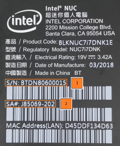 Intel® NUC Kit NUC6i5SYK label