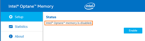 Intel Optane Memory is disabled