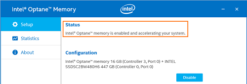 open the Intel® Optane™ memory application