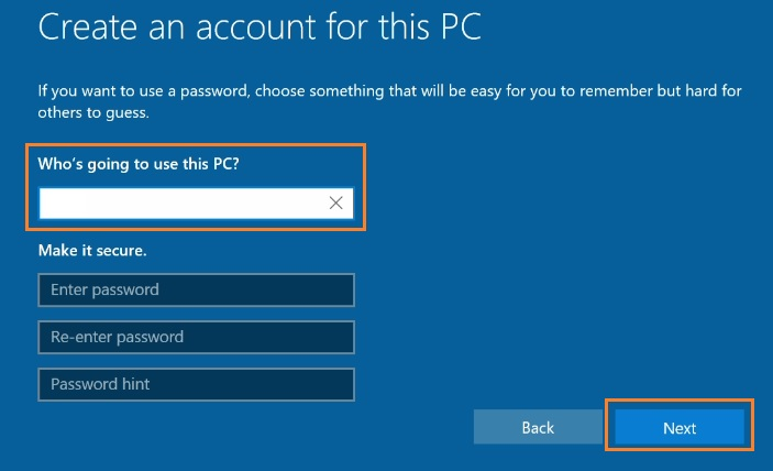 Create account for this PC
