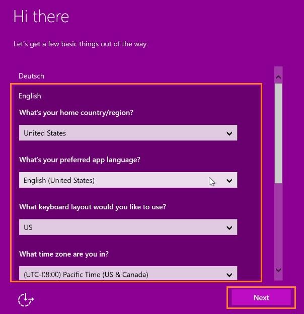 Preferred app language screen