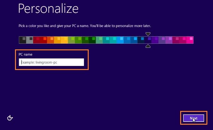 Personalize screen