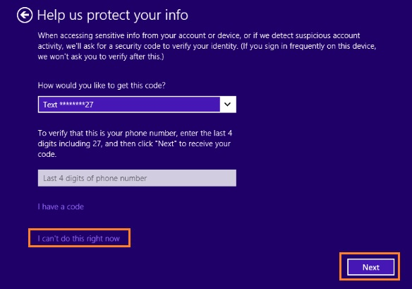 Security setup page