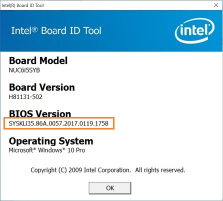 Identify BIOS Version on Intel® NUC