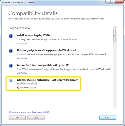 Screenshot of Windows Upgrade Assistant highlighting the Intel(R) USB 3.0 eXtensible Host Controller Driver