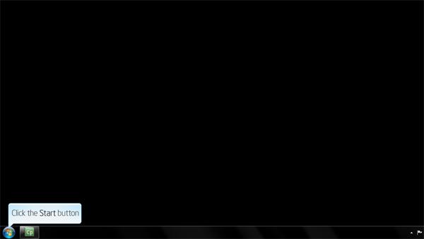 Screenshot indicating the location of the Windows Start Menu button