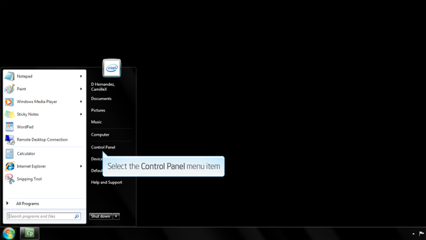Screenshot of the Windows 8 start menu indicating the location of the Control Panel button