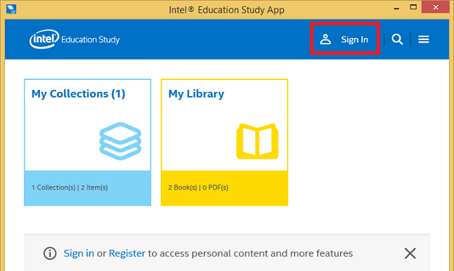 Redeem access codes for etextbooks from intel education study open the intel education study app click the menu button in the top right corner and click sign in fandeluxe Images
