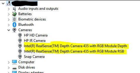 Device Manager for Intel RealSense Camera D435