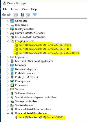 SR300 Device Manager
