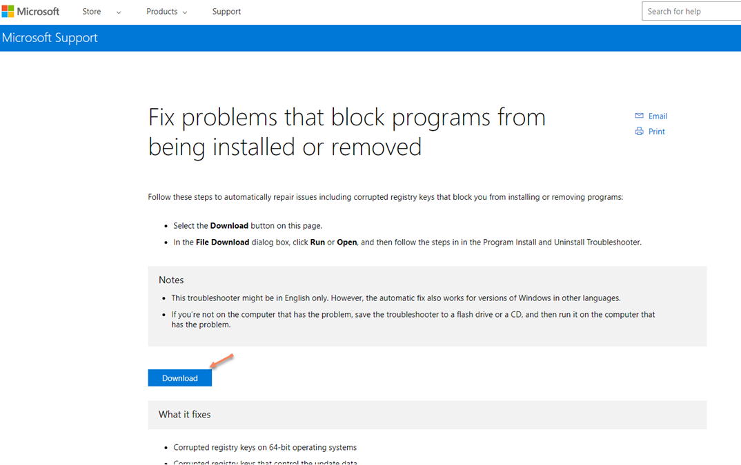 Microsoft's Fixit Page