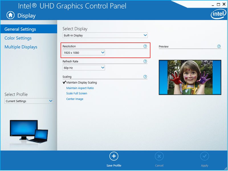 Intel Graphics Control Panel