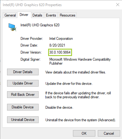 Verify Driver Version and Driver Date