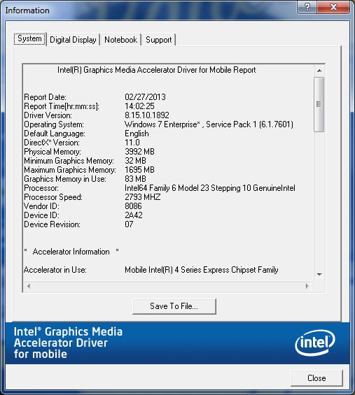 The Intel graphics driver report as seen in the Intel® Graphics Media Accelerator Driver.