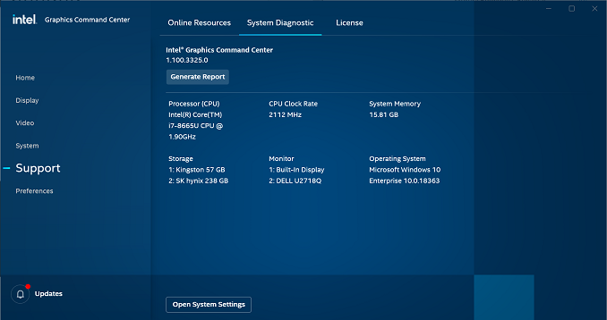 The Intel graphics driver report as seen in the Intel® Graphics Command Center.