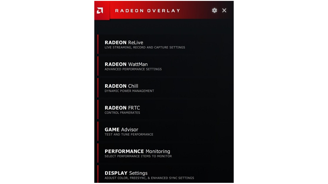 Using Radeon™ Overlay to Adjust Gaming and Visual Settings