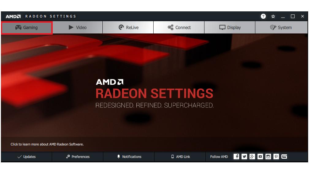 Gaming menu option