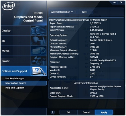 graphics memory information as seen in the Intel® Graphics and Media Control Panel