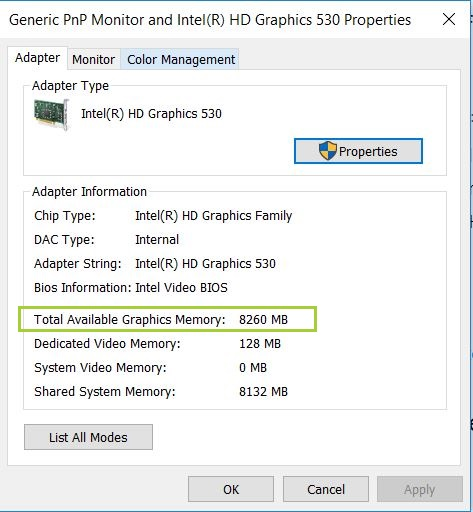 available graphics memory