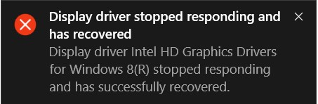 Display driver stopped responding error