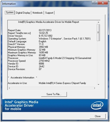 graphics memory information as seen in the Intel® Graphics Media Accelerator Driver