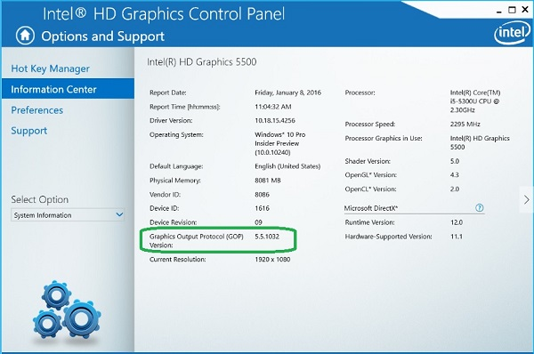 Intel Graphics Accelerator Driver V10
