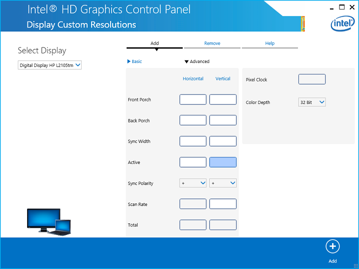 Example of the Advanced Settings in the Intel® HD Graphics Control Panel
