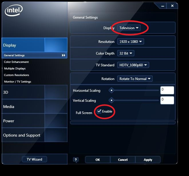 Scaling options on the Intel® Graphics and Media Control Panel