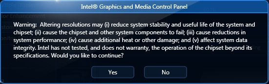 Disclaimer Warning Message in Intel® Graphics and Media Control Panel