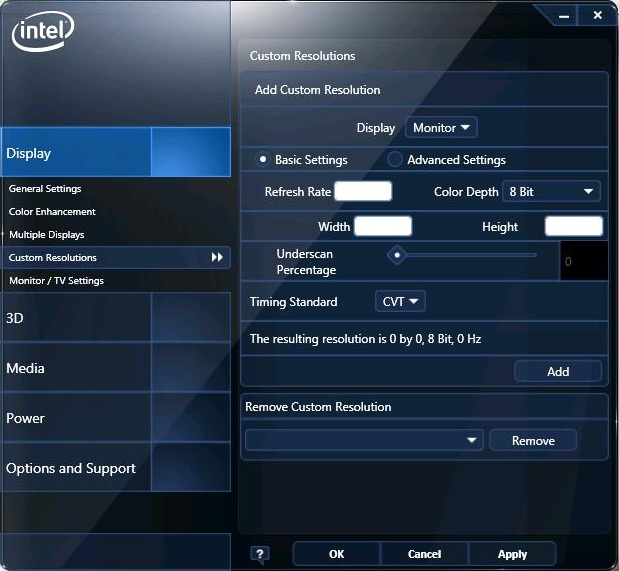 Example of the Basic Settings in the Intel® Graphics and Media Control Panel
