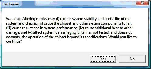 Disclaimer Warning Message in Intel® Graphics Media Accelerator Control Panel