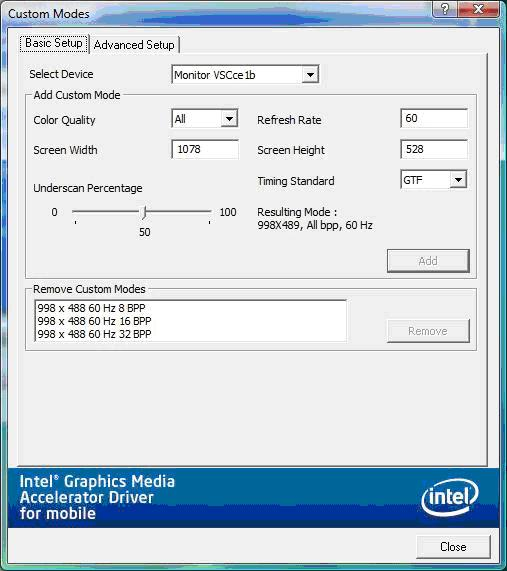 Example of the Basic Setup tab using an analog monitor with EDID (via Intel® Graphics Media Accelerator Control Panel)