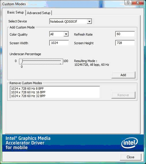 Example of the Basic Setup tab using the laptop's built-in display (via Intel® Graphics Media Accelerator Control Panel)