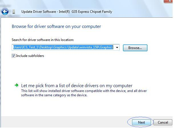 click Next to install graphics driver