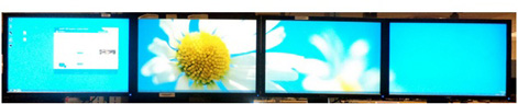 Horizontal collage with external DisplayPort splitter