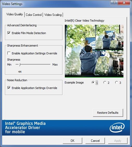 Video Quality tab