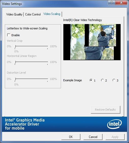 Video Scaling tab