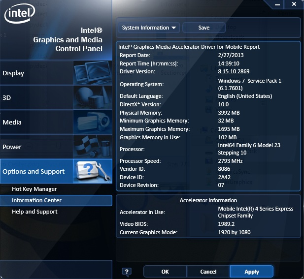 The Intel graphics driver report as seen in the Intel® Graphics and Media Control Panel.