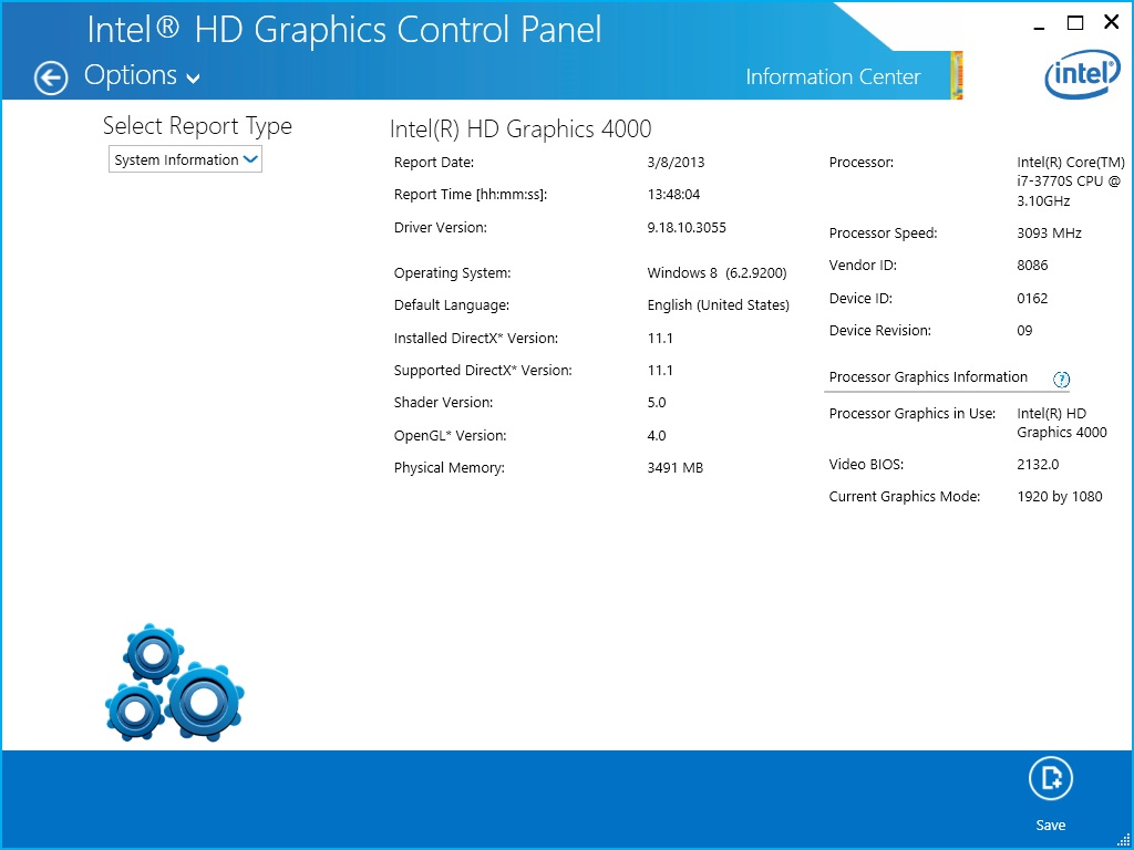 The Intel graphics driver report as seen in the Intel® HD Graphics Control Panel.