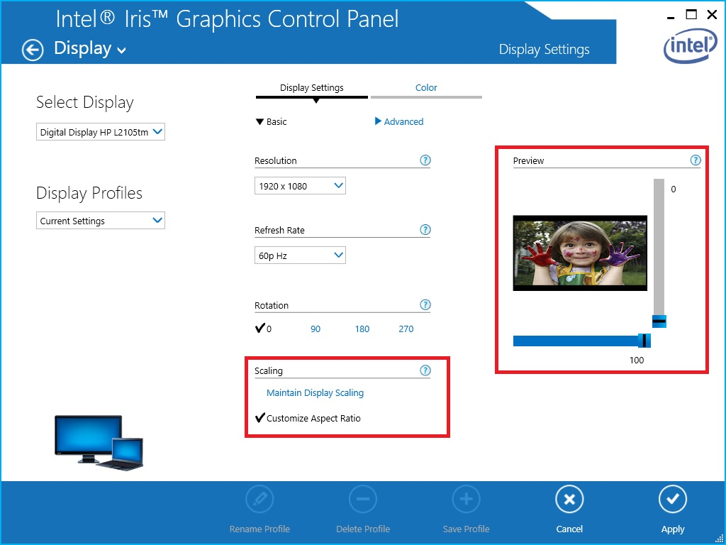 Scaling options in the Intel® HD Graphics Control Panel.