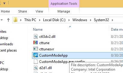 The CustomModeApp.exe as it appears in Windows\System32