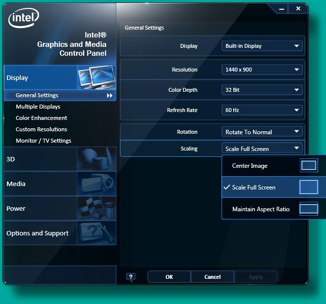 Intel® Graphics and Media Control panel