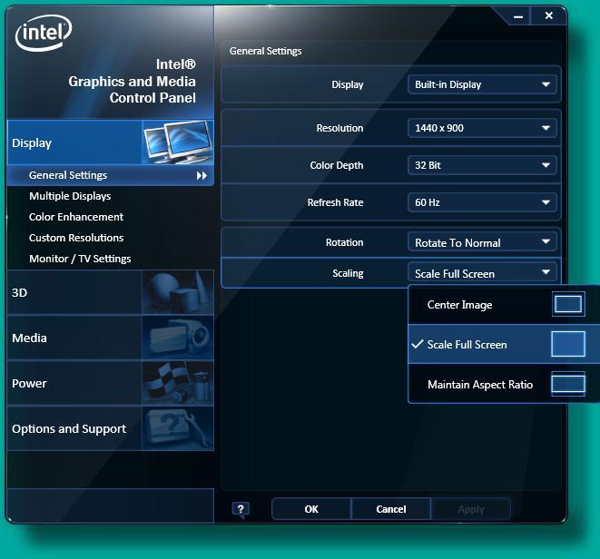 Intel® Graphics and Media Control Panel