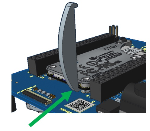 Insert the tool between module and board