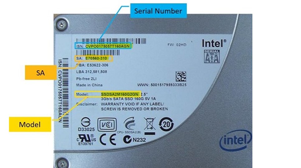 Find Model, Serial, and SA Numbers for Intel® SSDs and Modules
