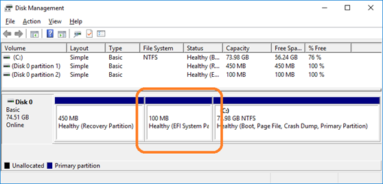 Three partitions, including the EFI System Partition